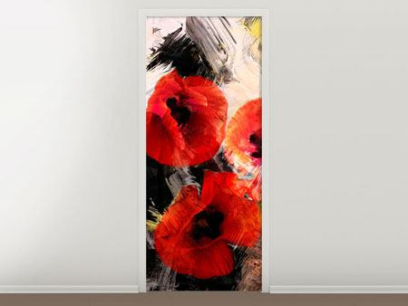 Door Mural Poppy Portrayal