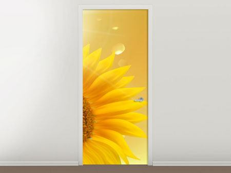 Door Mural Sunflower in Morning dew