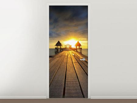 Door Mural Sunset At The Wooden Bridge