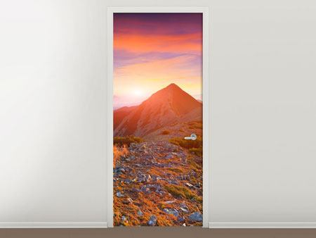 Door Mural Sunset In The Alps