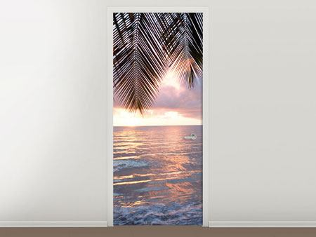Door Mural Under Palm Leaves