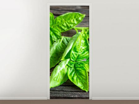 Door Mural Basil Leaves