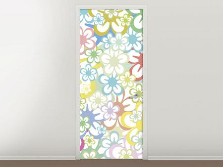 Door Mural Retro-Style Flower