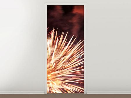 Door Mural Close Up Fireworks
