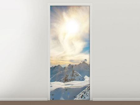 Door Mural Over The Snowy Peaks