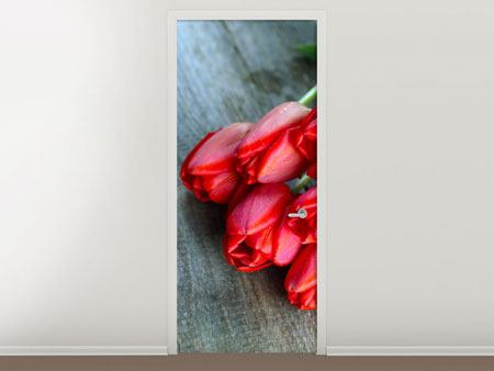 Poster de Porte Le bouquet de tulipes rouges