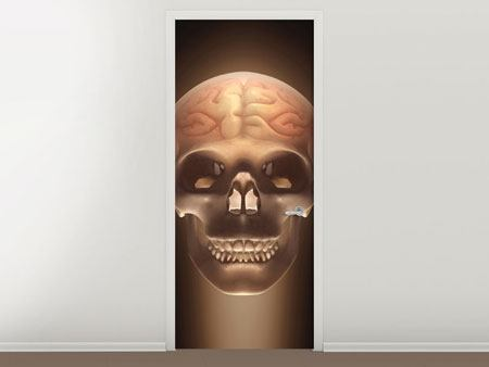 Door Mural Creepy Skull