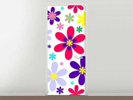 Door Mural Retro Fashion Flowers