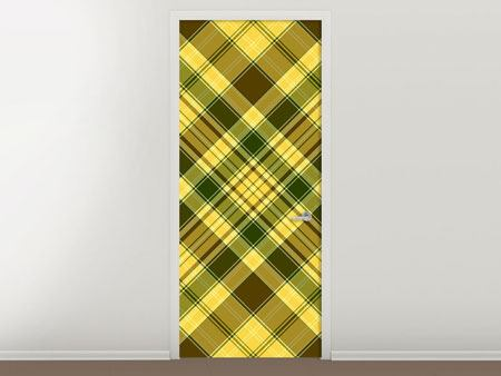 Door Mural Plaids Retro Design