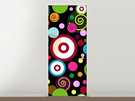 Door Mural Colorful Retro Look Circles