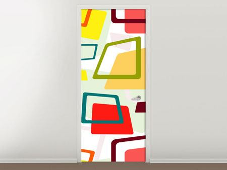 Door Mural Rectangles In Retro Style
