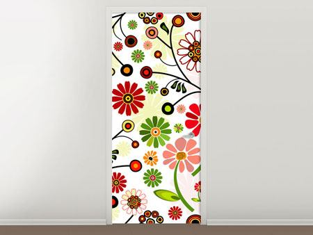 Door Mural Photo Wallaper Retro Style Floral