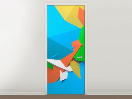 Door Mural 3D-Geometric Figures