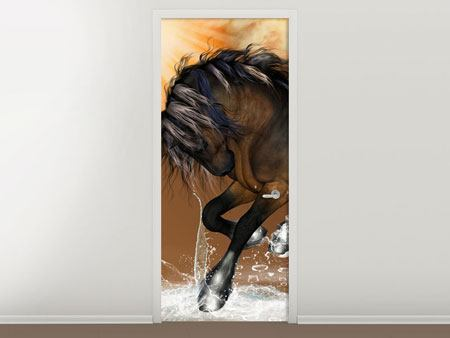 Door Mural Black Beauty