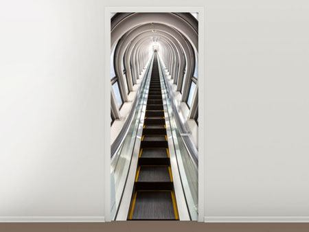 Door Mural Futuristic Escalator