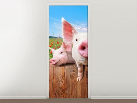 Door Mural Pig In Luck