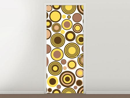 Door Mural Circles Retro Design