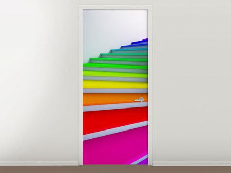 Door Mural Colorful Stairs