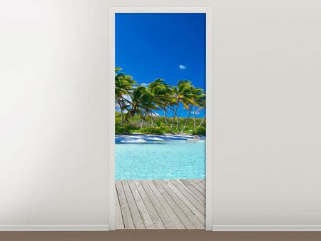 Door Mural Beach Palms