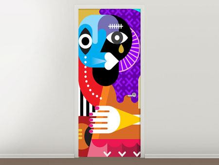 Door Mural Modern Art People