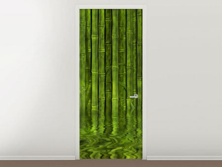 Door Mural Water Reflections Bamboo