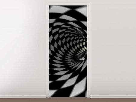 Door Mural Abstract Tunnel Black & White