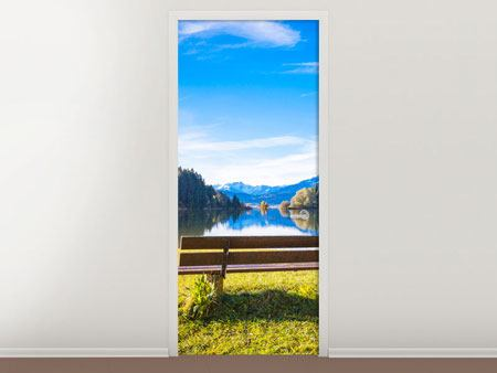 Door Mural Bench With Mountain Panorama