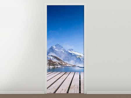Door Mural Sundeck At The Swiss Mountain Lake