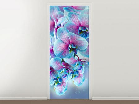 Door Mural Colored Orchids