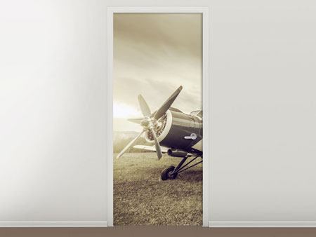 Door Mural Nostalgic Aircraft In Retro Style