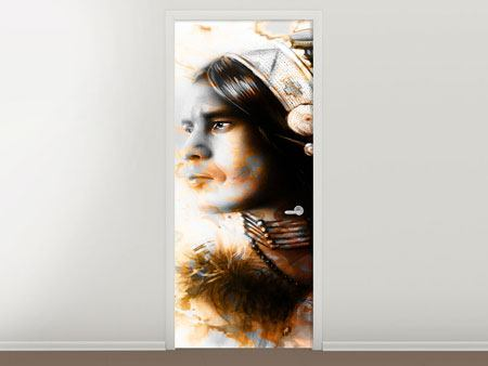 Door Mural Artful Indian Portrait