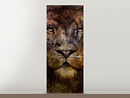 Door Mural Portrait Of A Lion