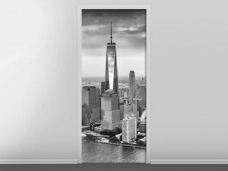 Door Mural Skyline Black And White Photography New York