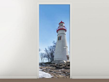 Door Mural Lighthouse In Snow