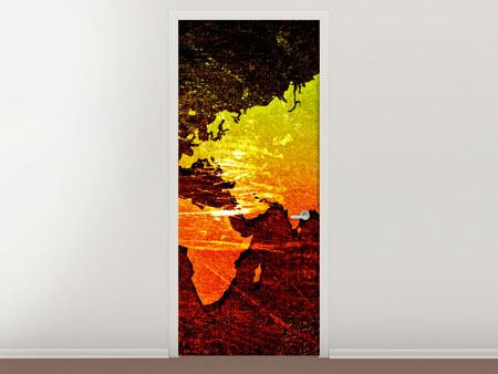 Door Mural Retro World Map