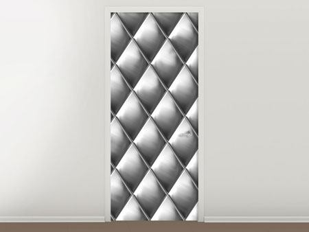 Door Mural 3D Lozenges Silver-Grey