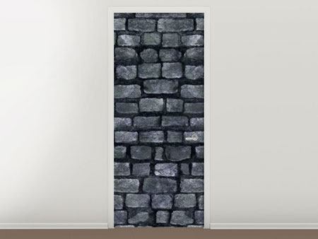 Door Mural Grey Stone Wall