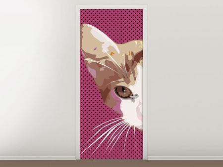 Door Mural Pop Art Cat