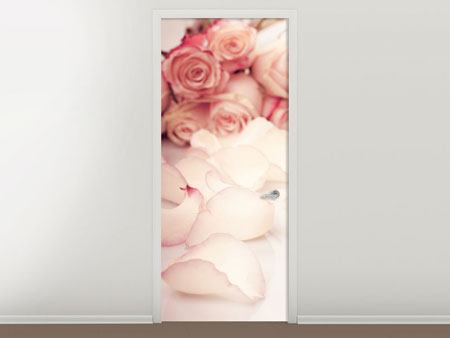 Door Mural Soft Rose Petals