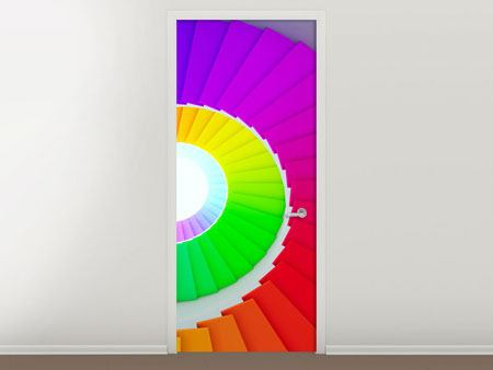 Door Mural Colorful Spiral Staircase 3D