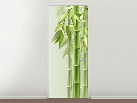 Door Mural Green Bamboo