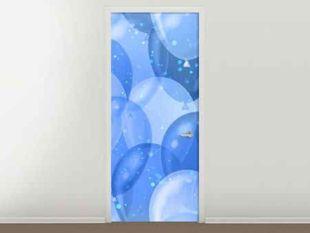 Door Mural Blue Balloons