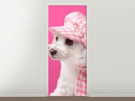 Door Mural Pretty Dog In Pink