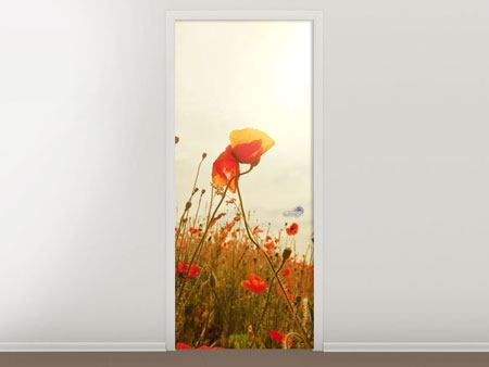 Door Mural The Poppy Field At Sunrise