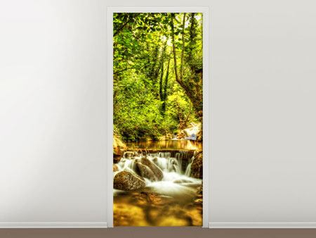 Door Mural Waterfall In The Forest