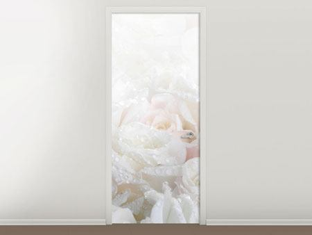 Door Mural White Roses In The Morning Dew