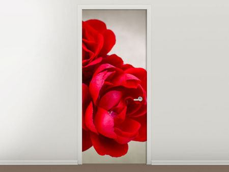 Door Mural Three Red Roses