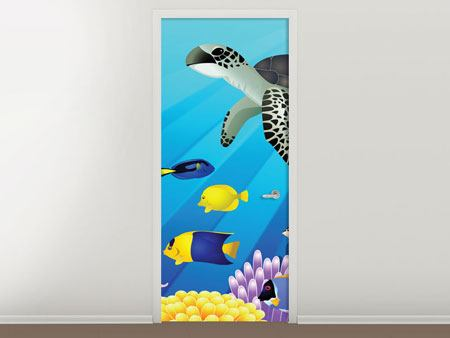 Door Mural Children`s Underwater World