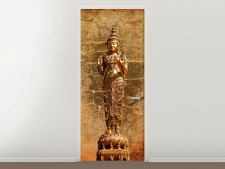 Door Mural Golden Buddha Statue