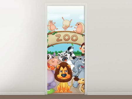 Door Mural Funny Zoo